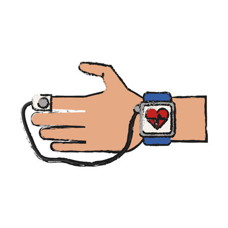 wireless communication: Colorful smartwatch doodle over white background vector illustration
