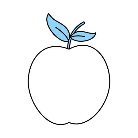 Flat line monocromatic apple over white background vector illustration Illustration