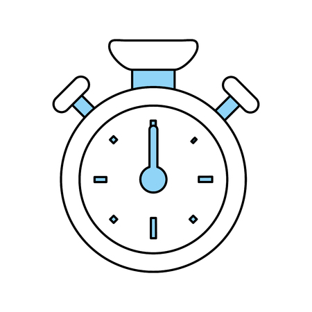 Flat line monocromatic stopwatch over white background vector illustration