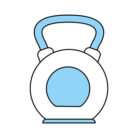 heavy: Flat line monocromatic kettlebell over white background vector illustration