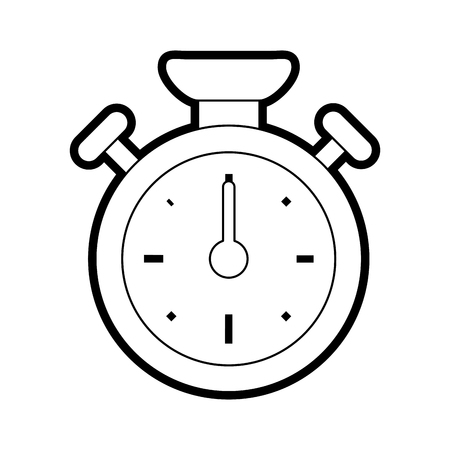 Flat line uncolored stopwatch over white background vector illustration