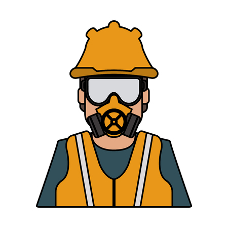 worker avatar with industrial safety icon image vector illustration design