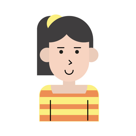 happy woman with ponytail cartoon  icon image vector illustration design