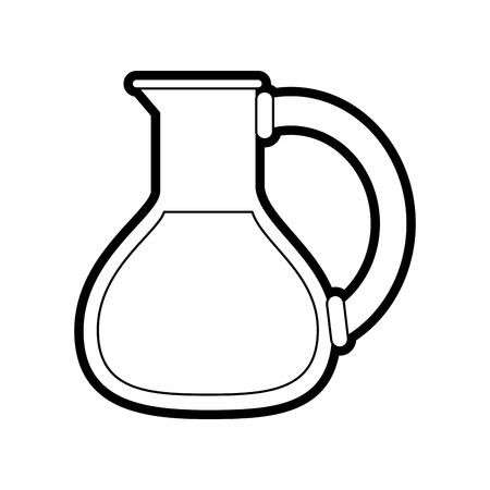 decanter: Flat line uncolored flask over white background vector illustration