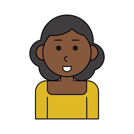 happy dark skin woman cartoon  icon image vector illustration design