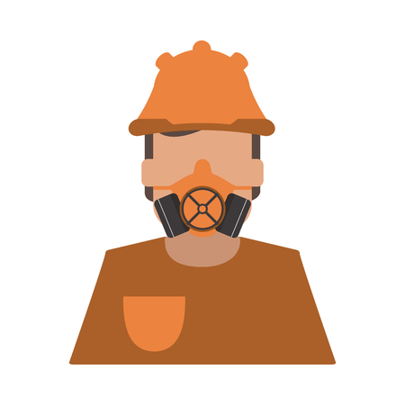 detection: worker avatar with industrial safety icon image vector illustration design