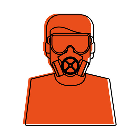 worker avatar with industrial safety icon image vector illustration design  orange color