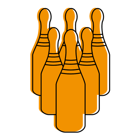 bowling pins  icon image vector illustration design  yellow color