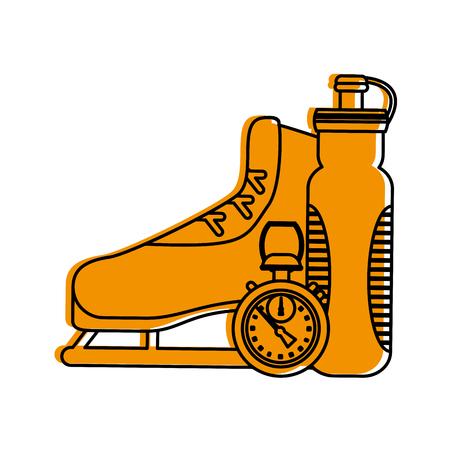 ice skate chronometer sports bottle icon image vector illustration design  yellow color