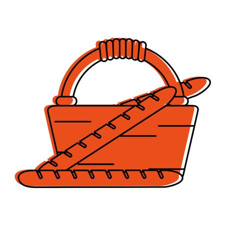 picnic basket with baguettes icon image vector illustration design  orange color