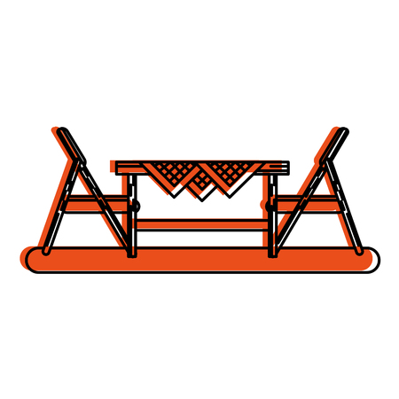 outdoor table setting eating outdoors icon image vector illustration design  orange color