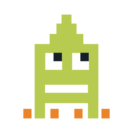 videogame pixel character icon image vector illustration design