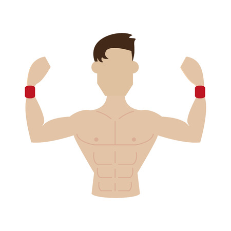 muscular man flexing biceps avatar fitness icon image vector