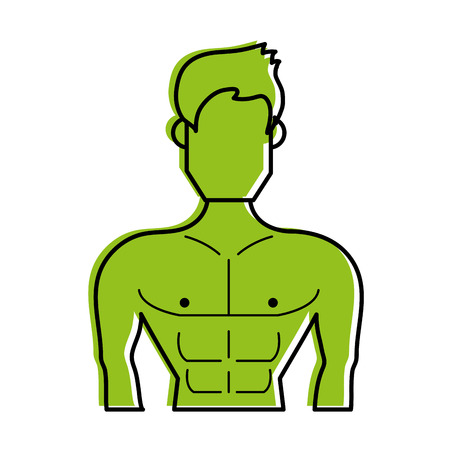 muscular man torso avatar fitness icon image vector illustration design  green color