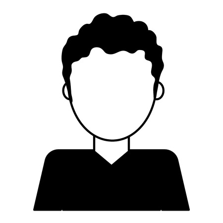 man with curly hair avatar icon image vector illustration design  black and white