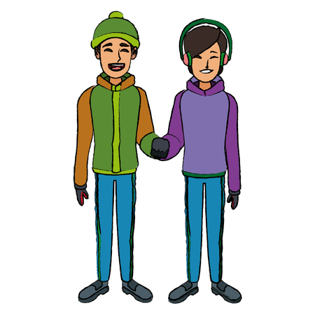 ice: couple wearing warm winter clothes together vector illustration