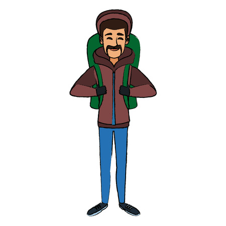 man winter clothes with backpack on white background vector illustration
