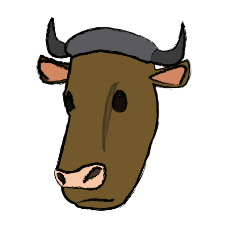 koe hoofd dier boerderij landbouw fauna vectorillustratie