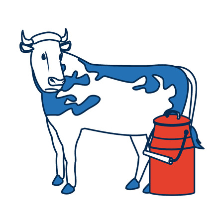 penknife: swiss can milk cow dairy culture concept vector illustration Illustration