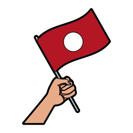 hand holding flag of symbol national vector illustration