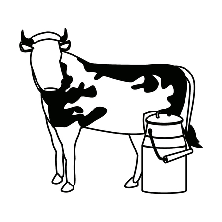 swiss can milk cow dairy culture concept vector illustration Illustration