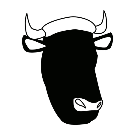 cow head animal farm agriculture fauna vector illustration