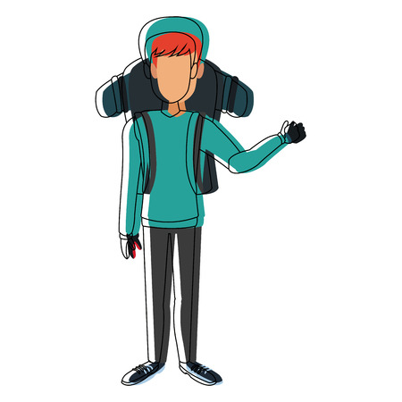 man winter clothes with backpack on white background vector illustration Stock Vector - 84006865