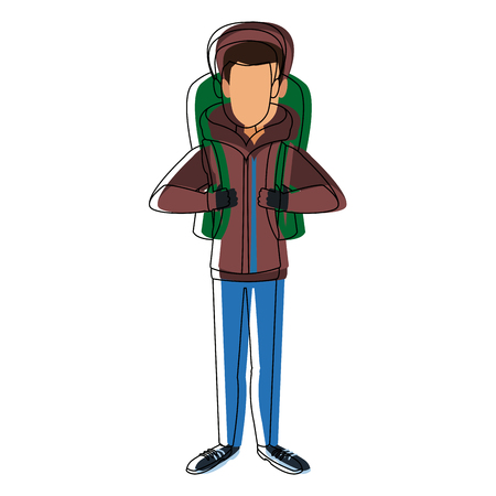 man winter clothes with backpack on white background vector illustration Stock Vector - 84007008