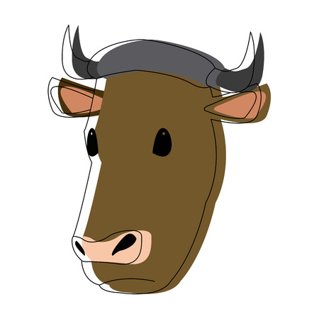 flocks: cow head animal farm agriculture fauna vector illustration