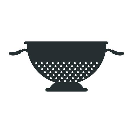metal kitchen strainer cooking element icon vector illustration