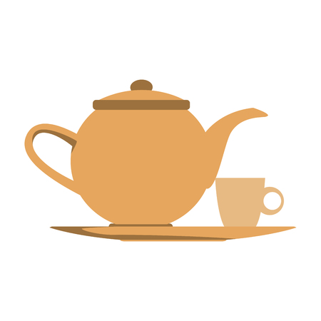 the teapot and cup beverage element icon vector illustration