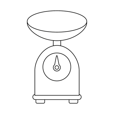kitchen weight scale button balance device vector illustration
