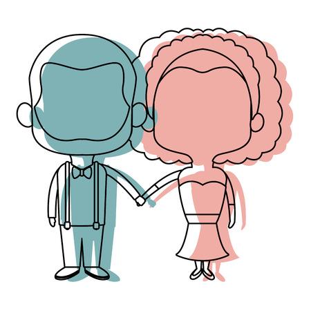 cute cartoon wedding couple holding hand vector illustration