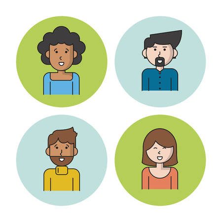 business team: white background with colorful circles with icons of people team with women afro with curly hair and caucasian with short hair and men with van dyke beard vector illustration Illustration