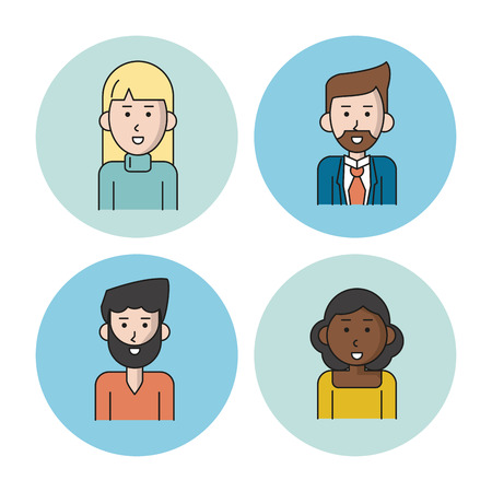 business team: white background with colorful circles with icons of people team half body with women afro and caucasian with blonde long hair and men with van dyke beard in casual and formal suit clothes vector illustration Illustration
