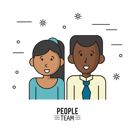 business team: colorful poster of people team with half body couple of dark skin and her with collected long hair and him with shirt and tie vector illustration Illustration