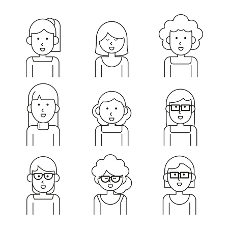 business team: white background with monochrome set of team people half body women vector illustration