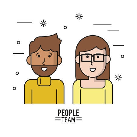 business team: colorful poster of people team with half body couple caucasian and her with short hair and glasses and him with beard in casual clothes vector illustration