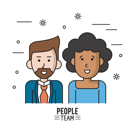 colorful poster of people team with half body couple and her afro with short curly hair and him with van dyke beard in suit vector illustration Illustration