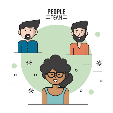 woman laptop: colorful poster of people team with half body and her afro with collected curly hair and glasses and caucasian men with beard vector illustration Illustration