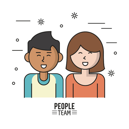 business team: colorful poster of people team with half body couple and her caucasian with short hair and man of skin and dark hair vector illustration