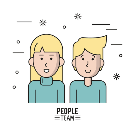 business team: colorful poster of people team with half body couple blonde and her with long hair vector illustration Illustration
