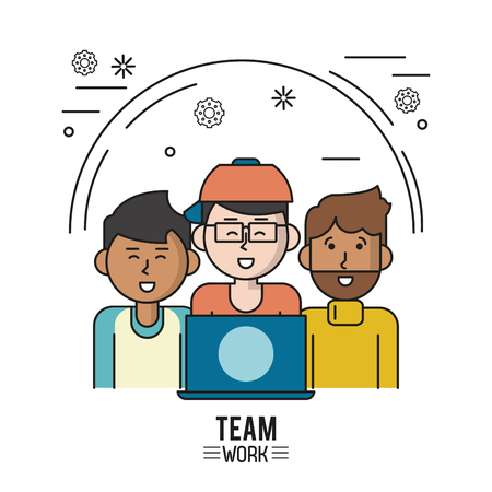 colorful poster of team work with half body men and the first with dark skin and the second with laptop and glasses and cap and the third with beard