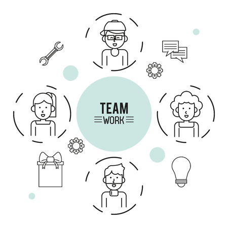 business team: monochrome infographic of team work with half body group of men and women and icon tools around vector illustration Illustration