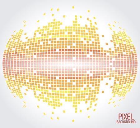 yellow sphere pixel background design vector illustration Illustration