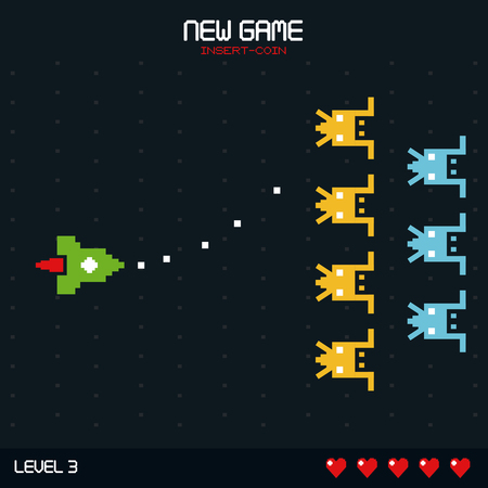 colorful poster of new game insert coin with graphics of spatial game level two horizontal advance vector illustration