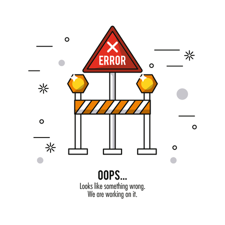 white background with red triangle road sign error oops vector illustration Illustration