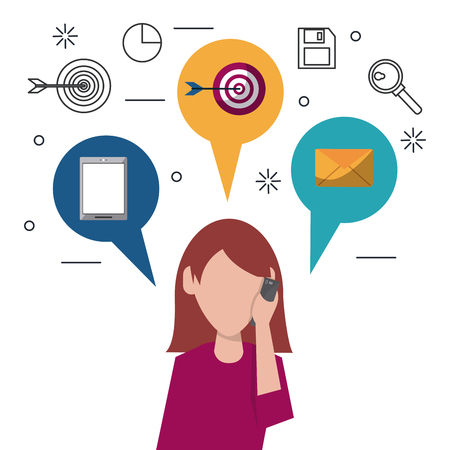 business team: colorful faceless half body woman answering phone and speech bubbles on top with icons of smartphone and target and mail vector illustration