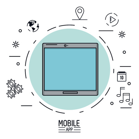 touch screen phone: white background poster of mobile app with tablet device in blue circle and common icons around vector illustration