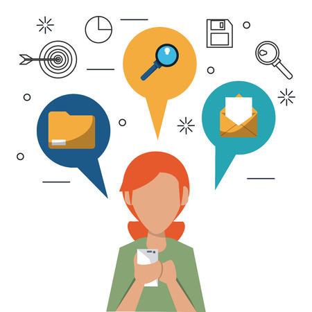 woman laptop: colorful faceless half body woman with smartphone and speech bubbles on top with icons of office elements vector illustration Illustration